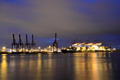 Hamburg port by night Stock Photography