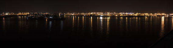 Hamburg port at night. Viewed from north side of Elbe river Royalty Free Stock Image