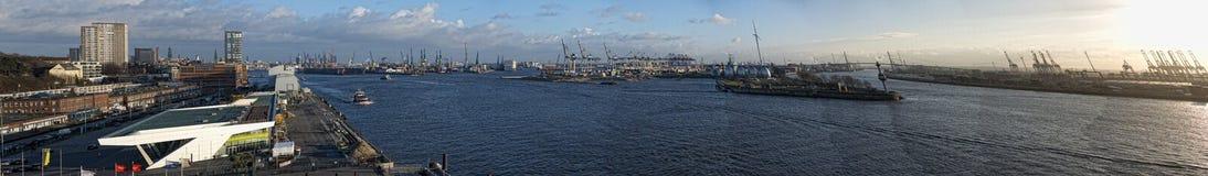 Hamburg port panorama Royalty Free Stock Photo
