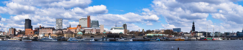 Hamburg port panorama. Taken from the other side of the river Stock Images