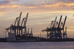 Hamburg - port przy zmierzchem z zbiornika kętnara żurawiami Fotografia Stock