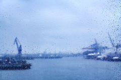 Hamburg raindrops on window Royalty Free Stock Photo