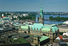 Hamburg Rathaus. The Rathaus from the spire of Nikolaikirche Hamburg Germany stock photos