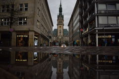 Hamburg Rathaus. Rainy day in Hamburg royalty free stock image