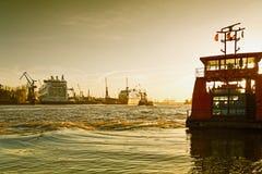 Hamburg, River Elbe and the shipyard with cruise ships Royalty Free Stock Photos
