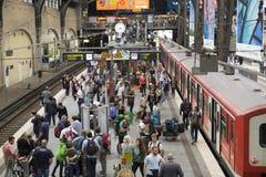 At Hamburg`s Main Railway Station. Passengers boarding a train at Hamburg`s Main Railway Station Hauptbahnhof, Hamburg, Germany Stock Image