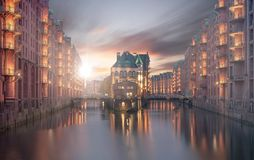 Hamburg`s Speicherstadt while morning with sun royalty free stock photos
