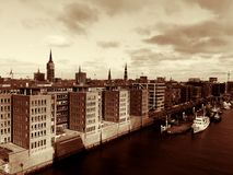 Hamburg sepia. Hafencity in Hamburg from the observation deck of Elbphilharmonic Royalty Free Stock Photos