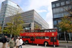 Hamburg sightseehing bus. Hamburg Hop-on Hop-off Tour - Red Double Decker Royalty Free Stock Photo