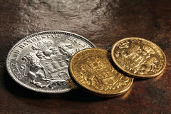 Hamburg silver and gold coins Stock Photo