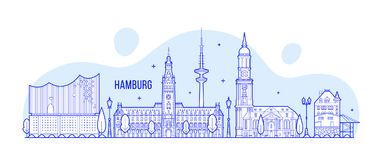 Hamburg skyline Germany city buildings vector Royalty Free Stock Photos