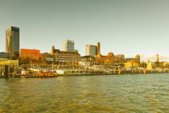 Hamburg, skyline of Hamburg, view from the river Elbe Royalty Free Stock Photo
