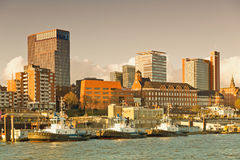 Hamburg, skyline of Hamburg, view from the river Elbe Royalty Free Stock Images