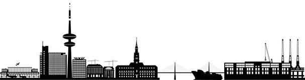 Hamburg skyline with hotel, landmarks Royalty Free Stock Images