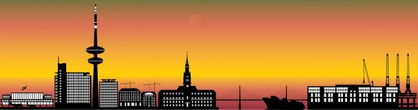 Hamburg skyline with hotel, landmarks Royalty Free Stock Photos