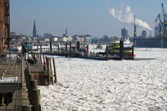 Hamburg skyline on ice Royalty Free Stock Photography