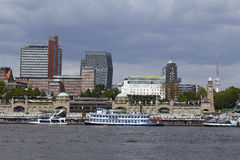 Hamburg - Skyline with jetties. The skyline of Hamburg´s harbor with the famous landmark Hamburg jetties Royalty Free Stock Image