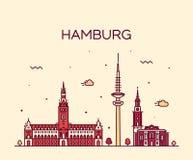 Hamburg skyline vector illustration linear style Stock Image