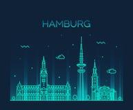 Hamburg skyline vector illustration linear style Royalty Free Stock Photos