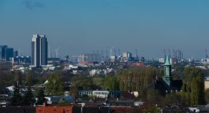 Hamburg skyline view from a roof.  royalty free stock photos