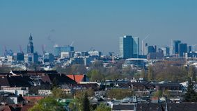 Hamburg skyline view from a roof.  stock images