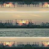 Hamburg solnedgångElbe vatten royaltyfria foton