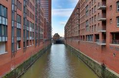 Hamburg Speicherstadt i sommaren av 2018 arkivfoto
