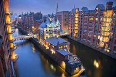 Hamburg- Speicherstadt. Image of Hamburg- Speicherstadt during twilight blue hour royalty free stock photography