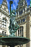 Hamburg. Statue-fountain in front of city hall Stock Image