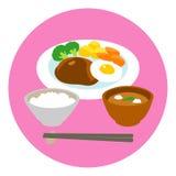 Hamburg steak and fried egg, rice, soup Royalty Free Stock Image