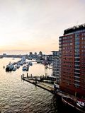 Hamburg. At sunset in spring royalty free stock photography