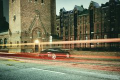Hamburg, time exposure, bulb, laser, architecture, time exposure, cars, laser, sports car stock photos