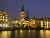 Hamburg town hall. City hall in the middle of the old hamburg, by night stock image