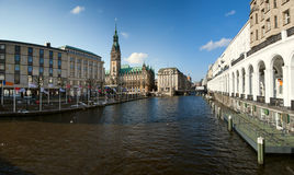 Hamburg. Town hall and Alster river royalty free stock image