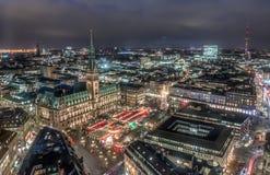 Hamburg Town Hall with Christmas Market Stock Image