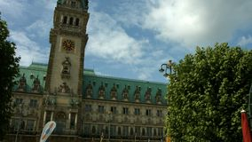 Hamburg town hall. Establishing shot of the Hamburg town hall in windy weather stock video footage