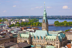 Hamburg town hall Germany. With historic building view Royalty Free Stock Images