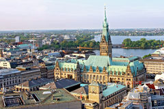 Hamburg town hall Germany with historical building view Stock Photos