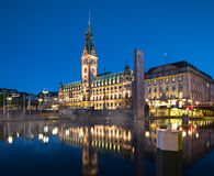 Hamburg Town Hall at night Royalty Free Stock Image
