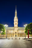 Hamburg Town Hall At Night Stock Image