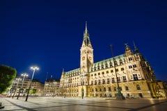 Hamburg Town Hall At Night Stock Images
