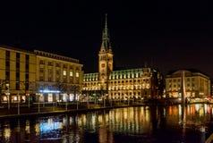 Hamburg town hall at the night Stock Images
