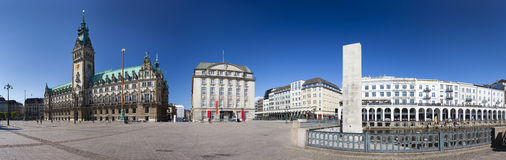 Hamburg Town Hall Panorama. Panoramic view of the famous town hall and the Alsterarkaden in Hamburg, Germany Royalty Free Stock Photography