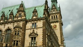 Hamburg town hall. South side view of the Hamburg town hall in windy weather stock video footage