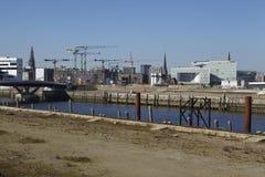 Hamburg (Tyskland) - byggnadsplats av Hafencityen Arkivbild