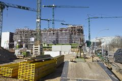 Hamburg (Tyskland) - byggnadsplats av Hafencityen Arkivbilder