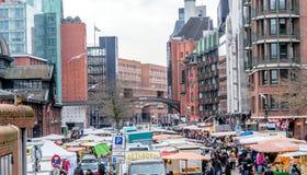 Hamburg Tyskland, December 10th 2017: Sikt över fiskmarknaden Arkivbild