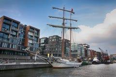Hamburg Tyskland - Juli 28, 2014: Sikt av den Hafencity fjärdedelen Royaltyfri Foto