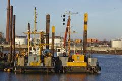 Hamburg (Tyskland) - konstruktionsskyttel på porten Arkivbild
