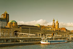 Hamburg, View from the river Elbe to St. Pauli Landing Stock Image